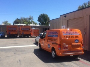 Water Damage Restoration Van and Trucks